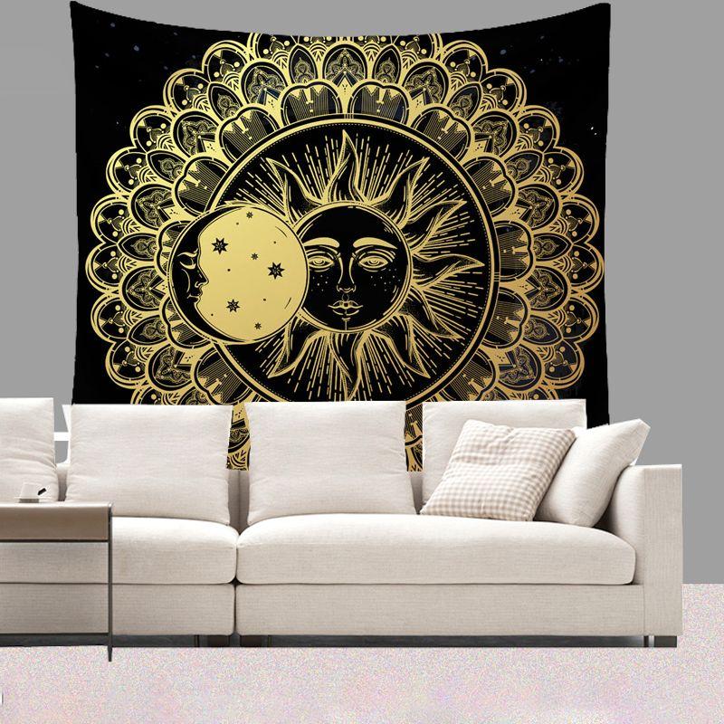 Smiry Livingroom Short Plush Indian Mandala Tapestry 130X150cm Sun Moon Stars Wall Hanging Beach Towel Yoga Mat Home Decorative