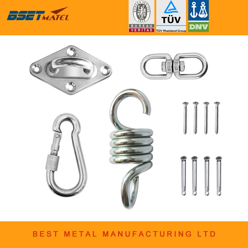 BY DHL Hammock Chair Ultimate Hanging accessories Kit 500 LB Capacity Hammock Spring, Swivel Hook, and Ceiling Hammock Mount
