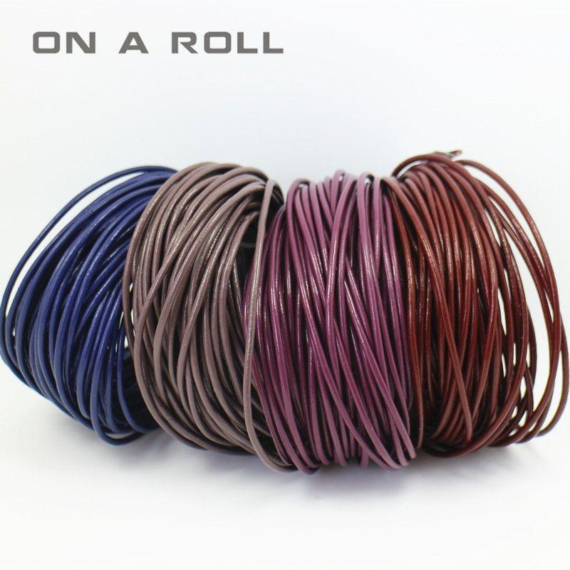 10 M 2mm vrai cuir cordon fil Fine résultats de bijoux de haute qualité bricolage accessoires à la main bracelets pour femme hommes NO, 12 ~ 22