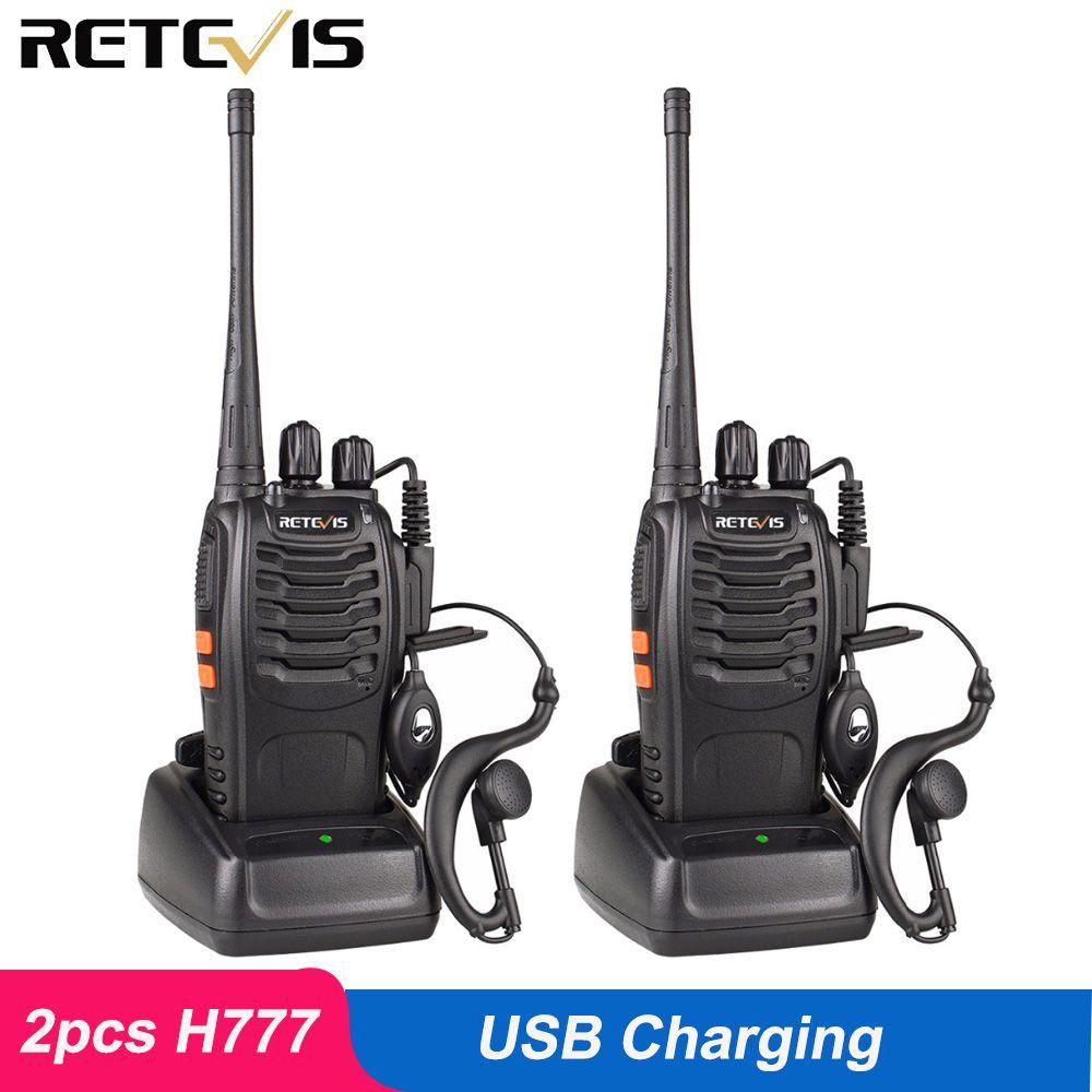 2 pièces Retevis H777 Talkie Walkie 3 W UHF 400-470 MHz Ham Radio Hf Émetteur-Récepteur Radio Bidirectionnelle communicateur chargeur usb talkie-walkie