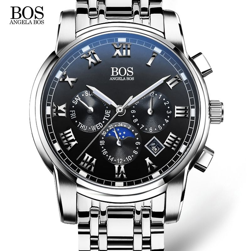 <font><b>ANGELA</b></font> BOS Business Stainless Steel Quartz Watch Men Date Week Month Waterproof Luminous Mens Watches Top Brand Luxury 2017