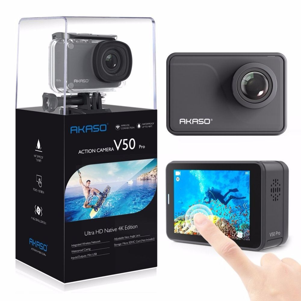 AKASO V50 Pro Native 4K/30fps 20MP WiFi Action Camera with EIS Touch Screen Adjustable View Angle 30m Waterproof Camera