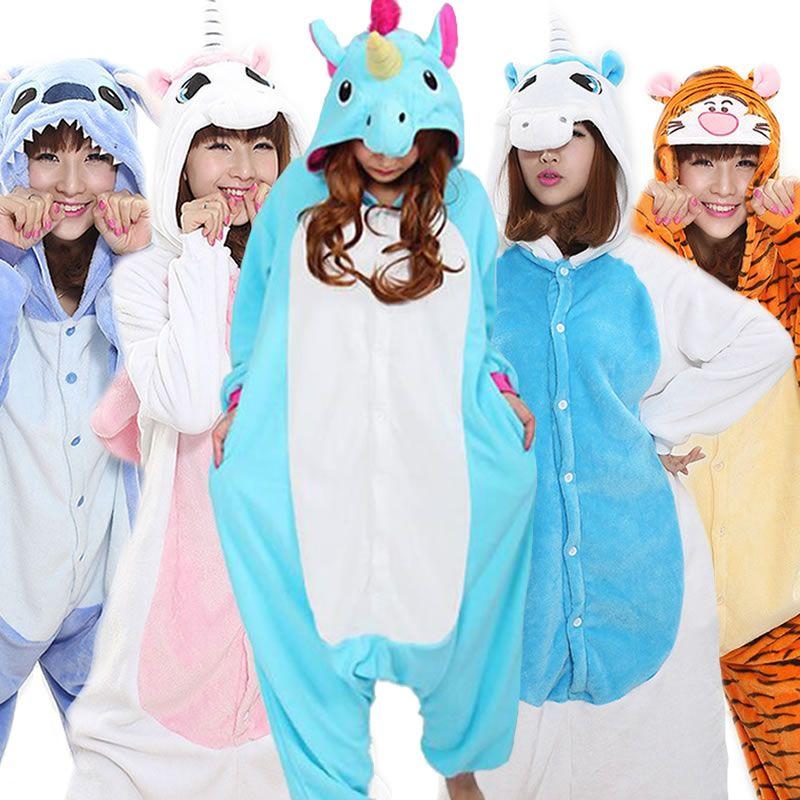 Winter Pink Unicorn Pajamas Sets Animal Cartoon Pajama for Women Stitch Blue Unicornio Flannel Sleepwear Adults Onesies Cosplay