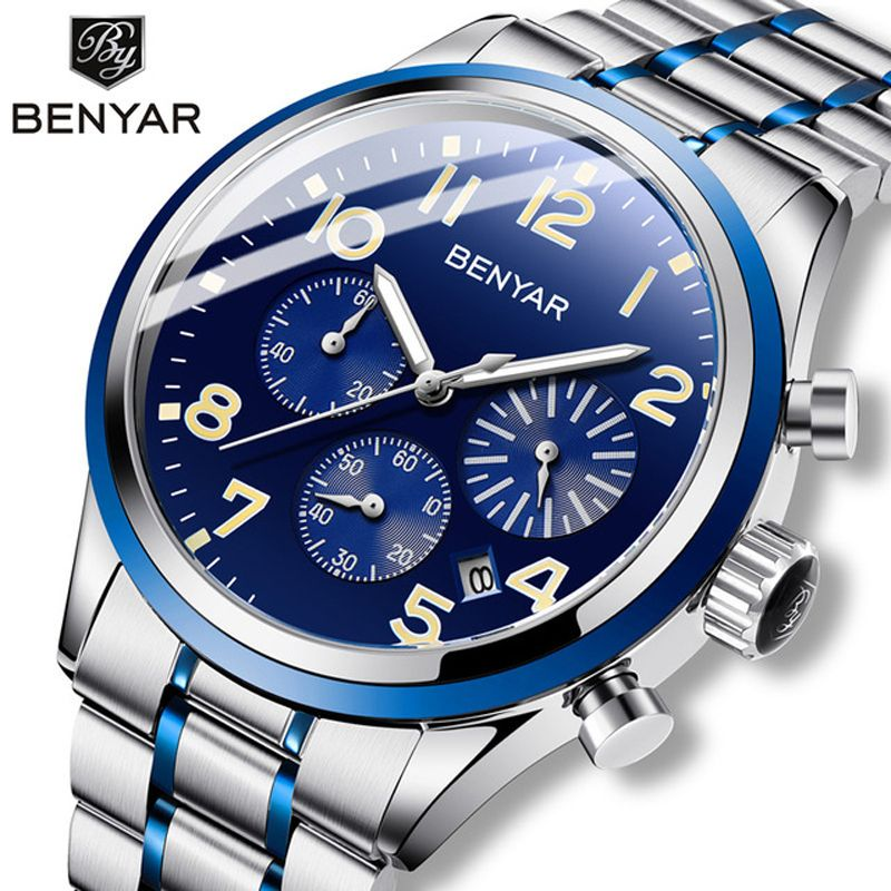 Benyar Men's Watches Military 2019 mens watches top brand luxury watch men sport wrist watch male quartz clock relogio masculino