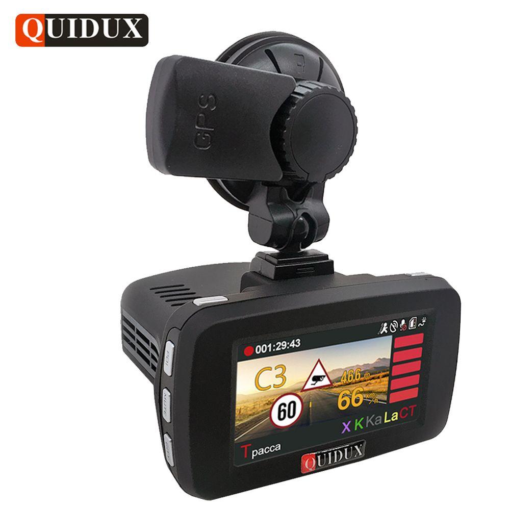 QUIDUX Russian 3 in 1 Car DVR 1296P Radar Detector transponder Ambarella Car Video Recorder Camera GPS Speedcam Overspeed Remind