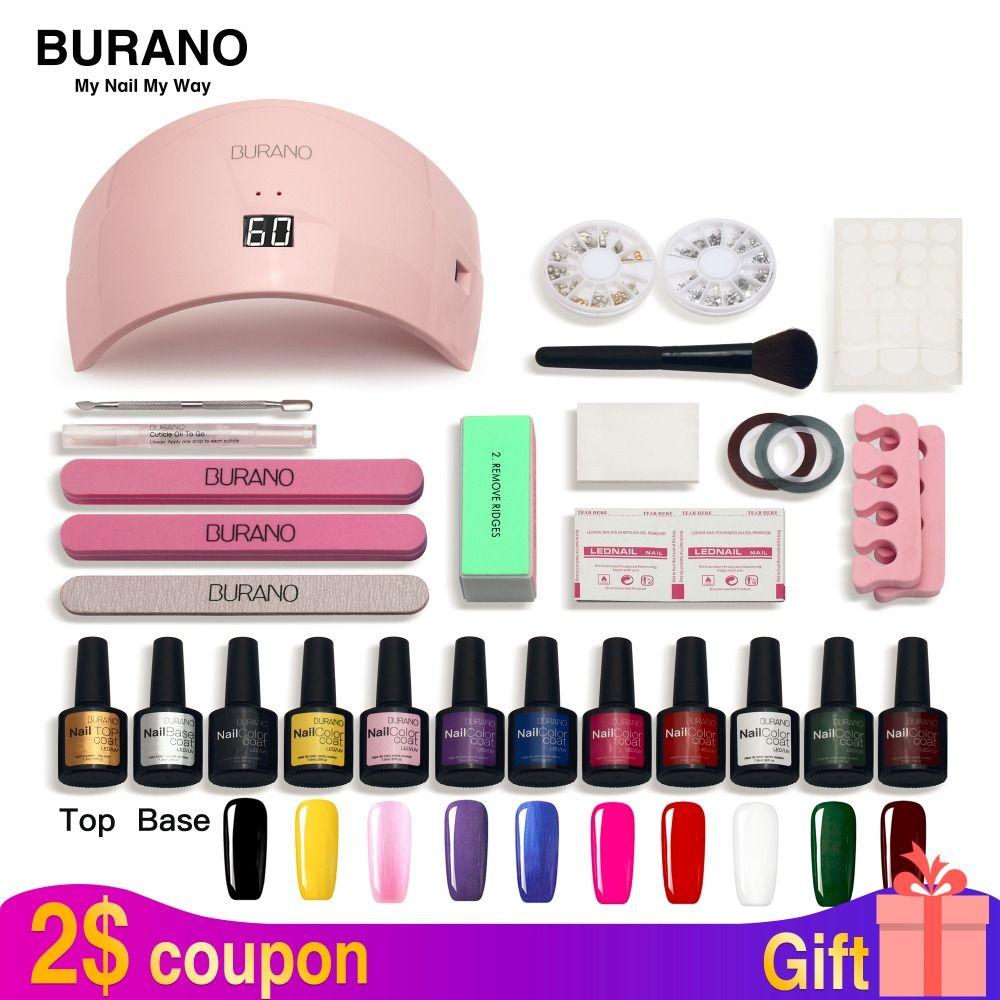 BURANO Nail Set led Lamp Dryer 10 Nail Gel Polish Soak Off Manicure Gel Nail Polish Kit For Nail Art Tools