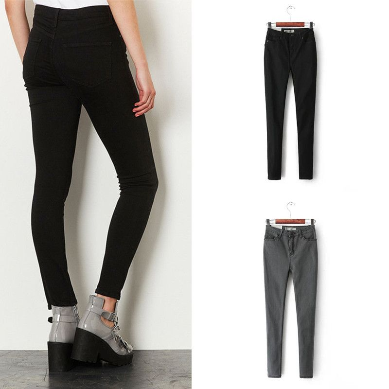 2017 Vintage Women's High Waist Pencil Jeans Water Washed Black Jeans Slim Skinny Pants Trousers Female USA Stretch Cowboy Jeans