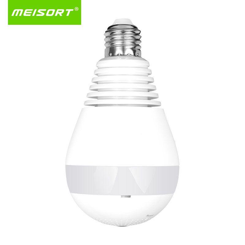 Bulb LED Light wifi Camera Wi-fi Fisheye <font><b>960P</b></font> 360 degree CCTV Camera 1.3MP Home Security WiFi Camera Panoramic camera