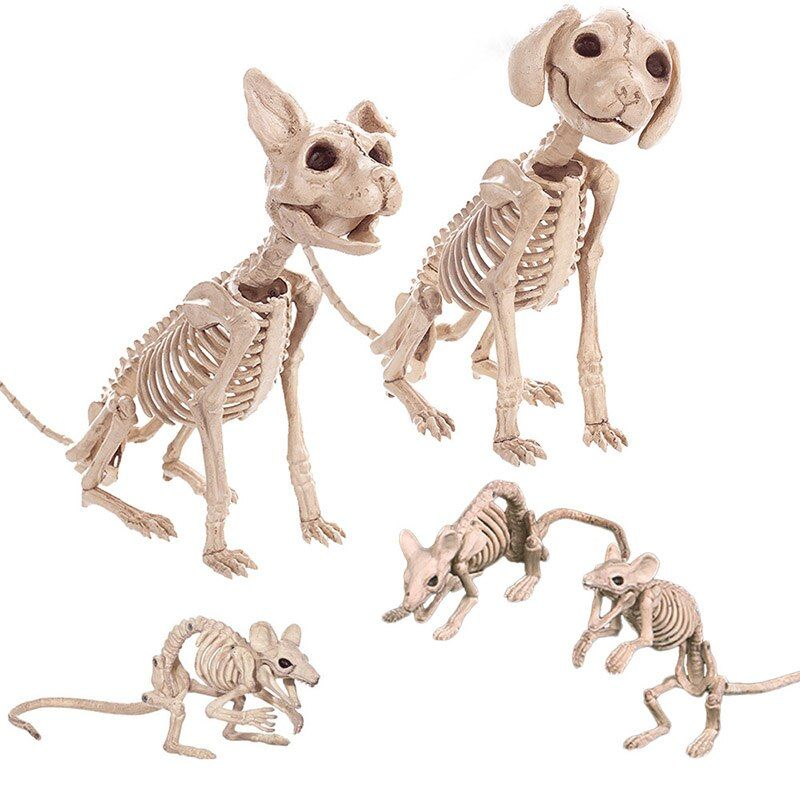 Halloween Decoration Props Animals Skeleton Mouse Dog Cat Skull Bone Ornaments Hallowmas Horror Haunted House Party Decoration