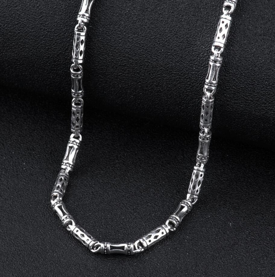 925 sterling argent hommes long épais croix lien chaîne collier rétro mode thai argent bijoux (HY)