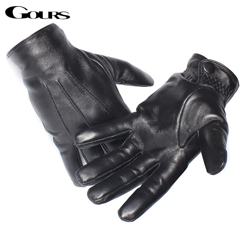 Gours Men's Genuine Leather Gloves Real Sheepskin Black Touch Screen Gloves <font><b>Button</b></font> Fashion Brand Winter Warm Mittens New GSM050