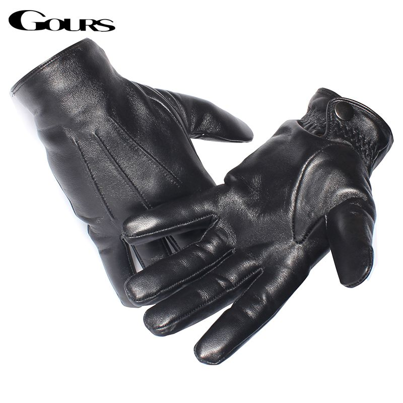 Gours Men's Genuine Leather Gloves Real Sheepskin Black <font><b>Touch</b></font> Screen Gloves Button Fashion Brand Winter Warm Mittens New GSM050