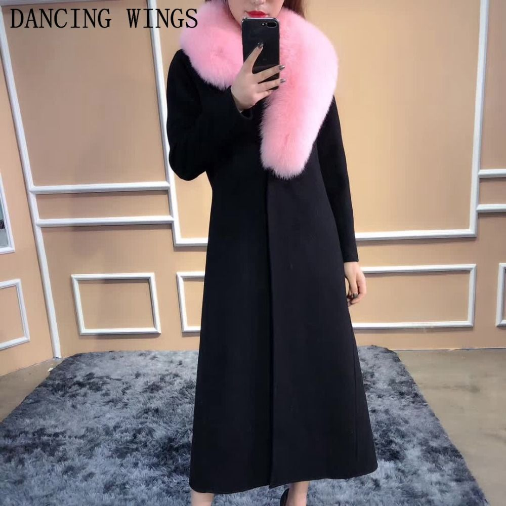 Real Fur Coats For Women 2018 Autumn Winter Double-sided Cashmere Jacket Luxury Fox Fur Collar Winter Long Coats Jackets Women