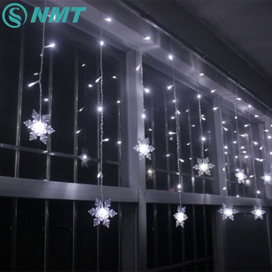 Iluminación de vacaciones 3.5 M 96 LED del Copo de nieve Cortina LED Luces de Cadena de Hadas Luces De Navidad Para El Partido Casero Decoración de Navidad Al Aire Libre