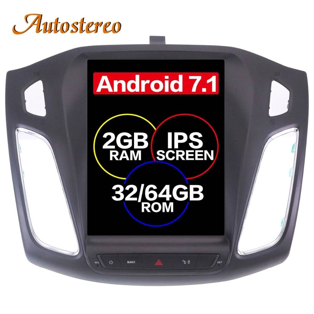 Android 7.1 Großen Bildschirm Tesla stil Auto DVD Player GPS Navigation Für Ford Focus 2012-2017 Auto navi stereo steuergerät multimedia