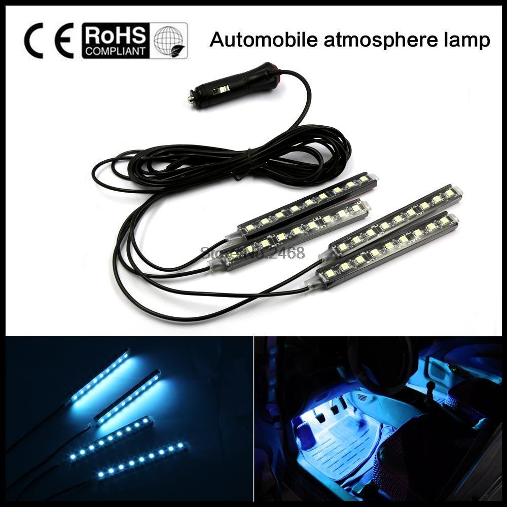 2016 4x9 LED de 8 COLORES Led Luces Atmósfera Coche Lámpara de La Decoración 12 v Auto CarLed Luces Interiores Glow bombilla de La Lámpara decorativa