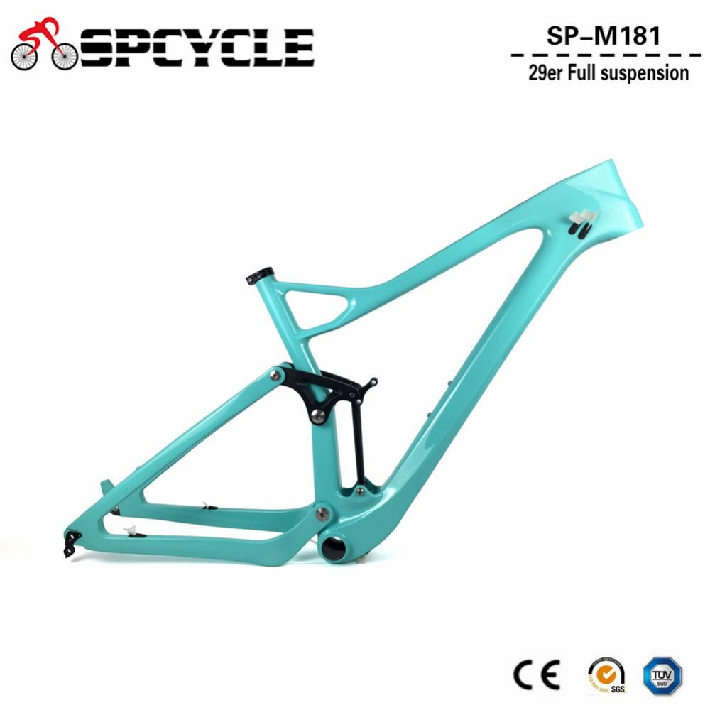 2018 neue 29er Full Suspension Carbon Rahmen 29er T1000 Carbon MTB Mountainbike Rahmen 142*12 Steckachse disc bremse rahmen