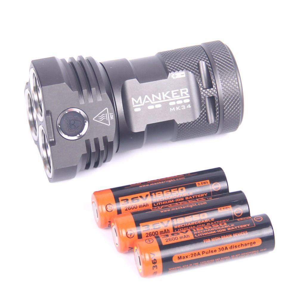 Manker mk34 led фонарик 8000 люмен 12x cree xpg3/6500lm 12x nichia 219b/219c led + 3x с высоким потреблением 2600 мАч 18650 батареи