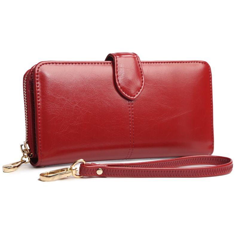 2017 luxus Mode Frauen Kupplung Brieftasche Koreanische Ölwachsleder Große Handtasche Kartenhalter Weibliche Reißverschluss Handytasche Handtasche