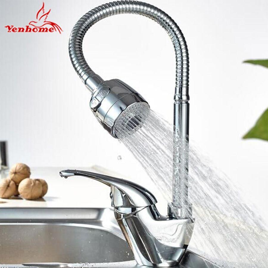 Yenhome твердая латунь Кухня смеситель холодной и горячей Кухня раковина, краны одно отверстие водопроводной воды Кухня кран Torneira Cozinha