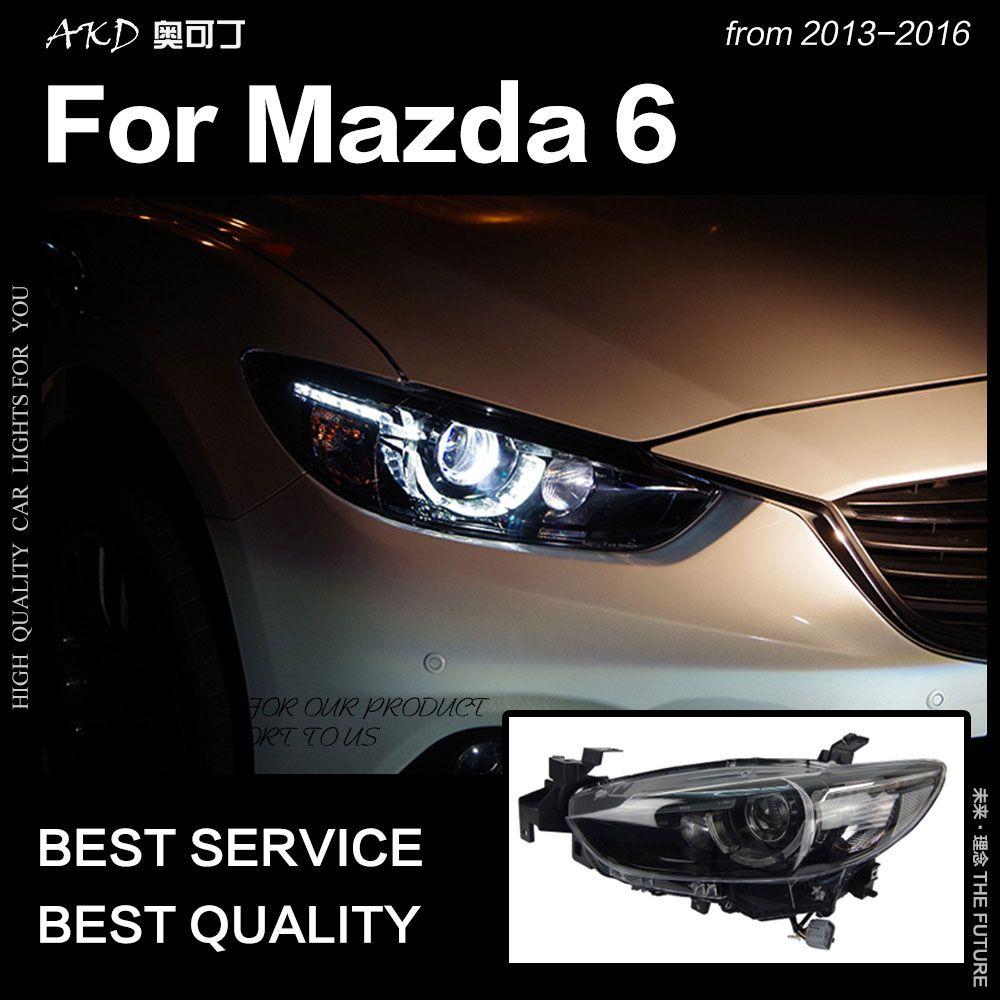 AKD Auto Styling für Mazda 6 Atenza LED Scheinwerfer 2013-2017 Neue Mazda6 LED DRL Hid Kopf Lampe Engel auge Bi Xenon Zubehör