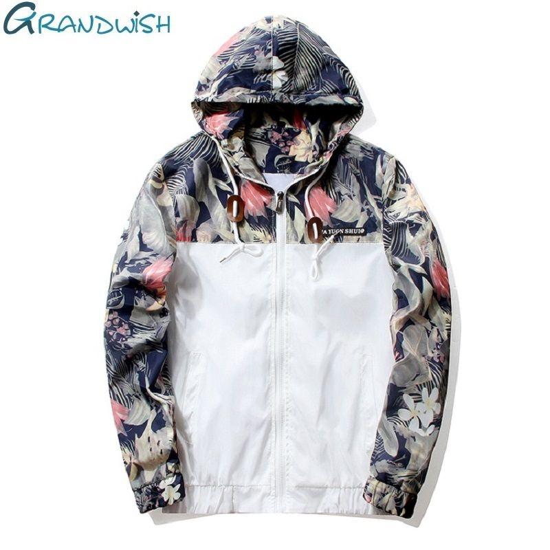 Grandwish Floral Bomber Jacket Men Hip Hop Slim Fit Flowers Pilot Bomber Jacket Coat Men's Hooded Jackets <font><b>Plus</b></font> Size 4XL , PA571