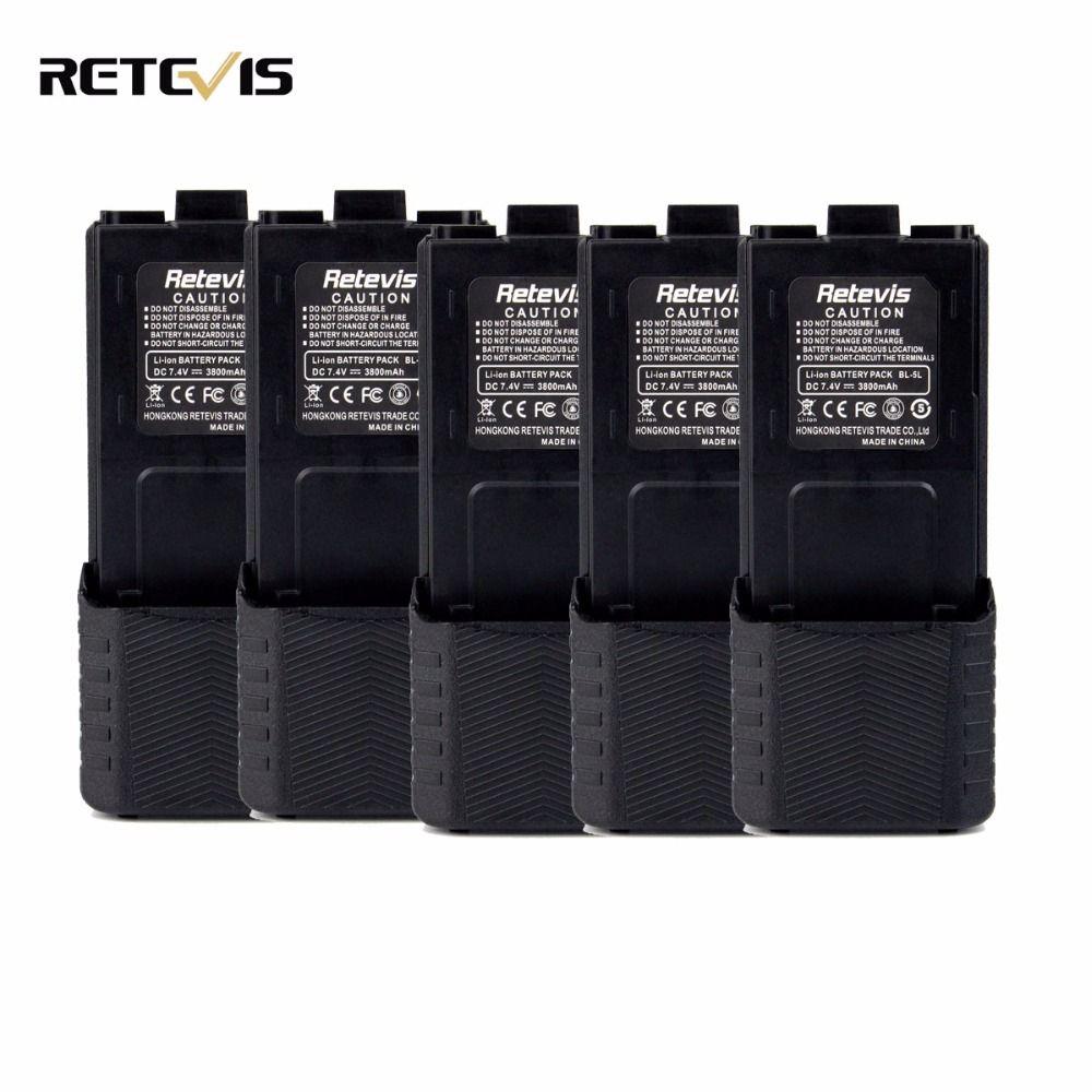 5pcs Retevis 7.4V 2600mAh RT-5R Li-ion Battery For Retevis RT-5R Baofeng UV-5R/UV5RB/UV5RE/UV5RE plus TYT TH-F8 Walkie Talkie
