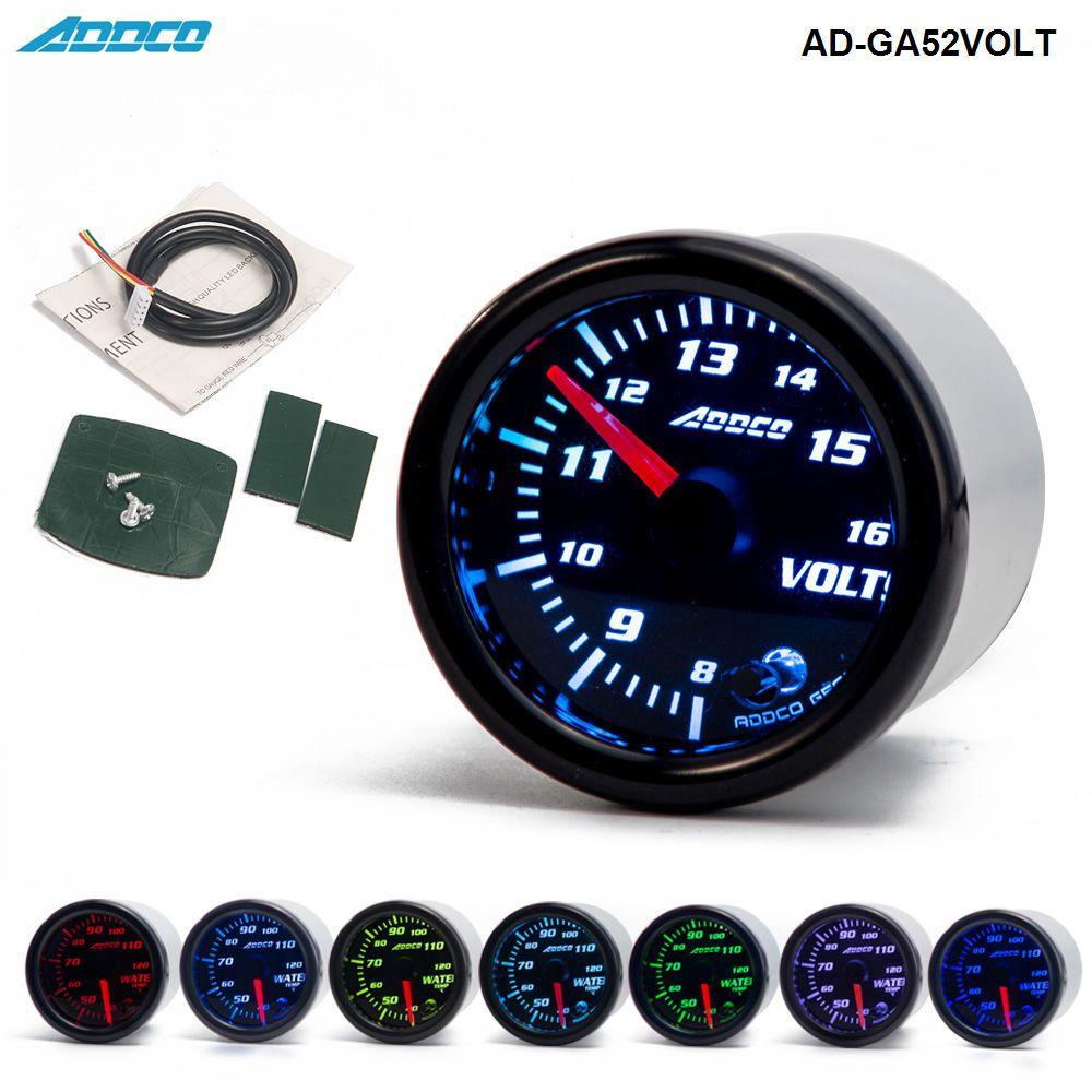 Car Auto 12V 52mm/2 7 Colors Universal Voltmeter Volt Gauge LED With Sensor and Holder AD-GA52VOLT