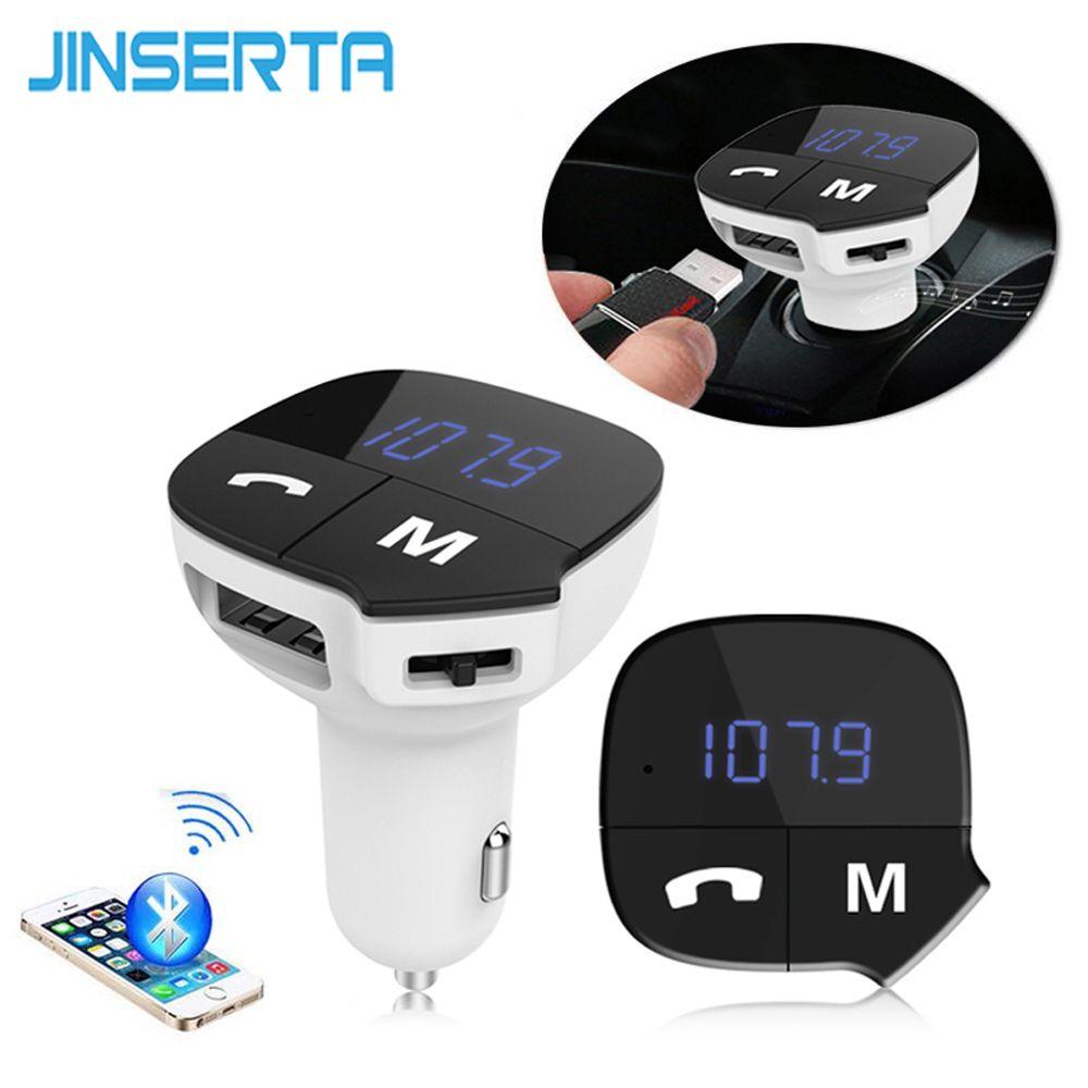 JINSERTA Car MP3 Audio Player Bluetooth FM Transmitter Wireless FM Modulator Car Kit HandsFree LCD Display USB Charger For Phone