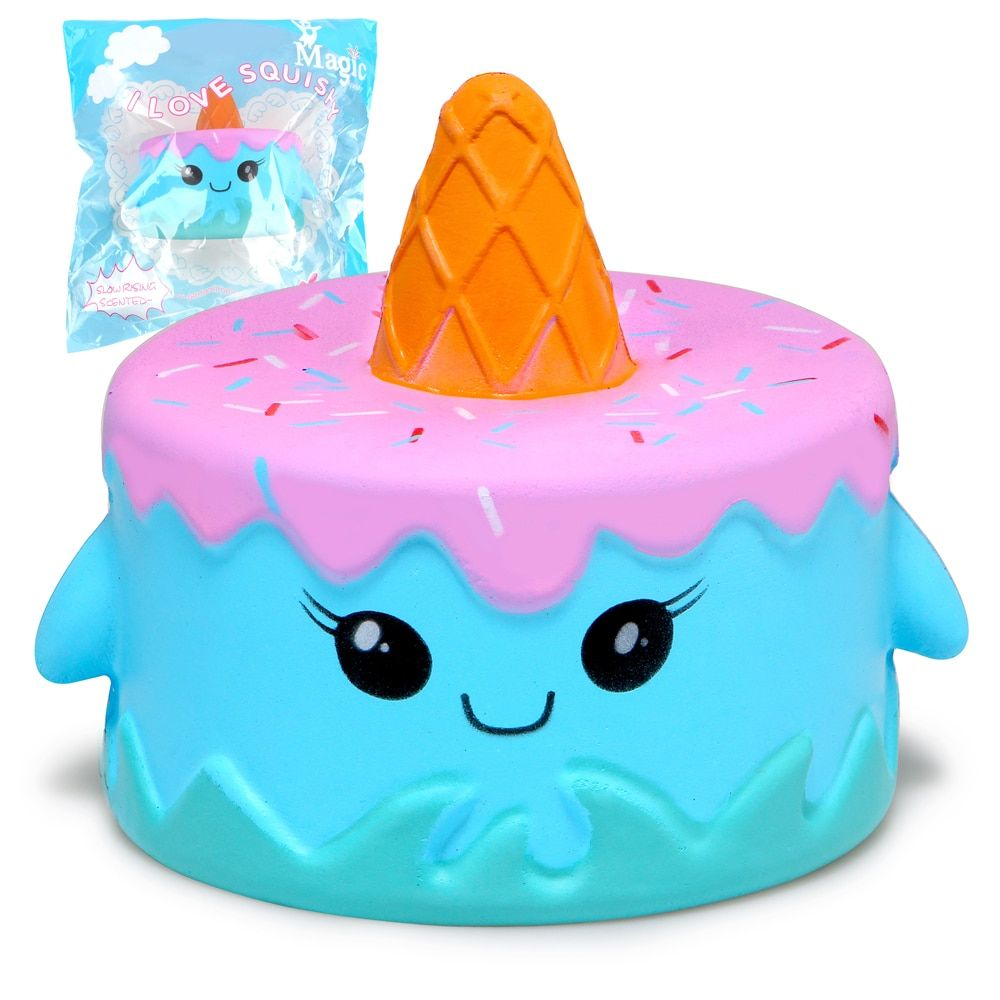 Jumbo Narwhal Squishy Cute Whale Cake Squishies Super Slow Rising Cream Scented Original Package Phone Strap