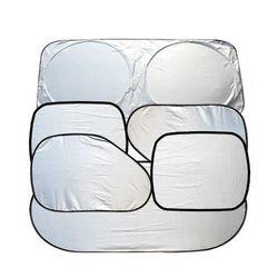 6 piezas plegable Silvering Reflective Ventana del parabrisas del coche parasol Visor cubierta del protector ventosa parasol coche cortina de protección solar