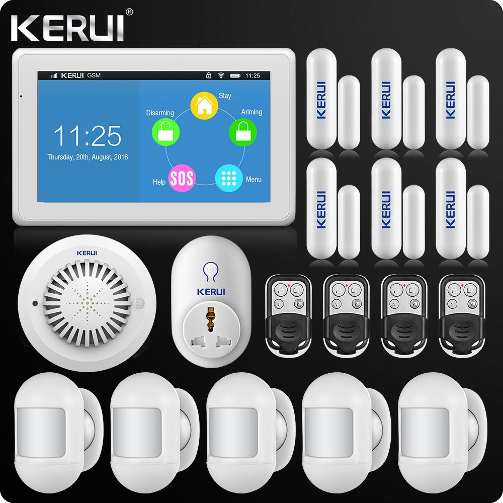 Largest Touch-Screen 7 Inch TFT Color Display WIFI GSM Alarm System Home Alarm Security Portable PIR Sensor Smart Socket