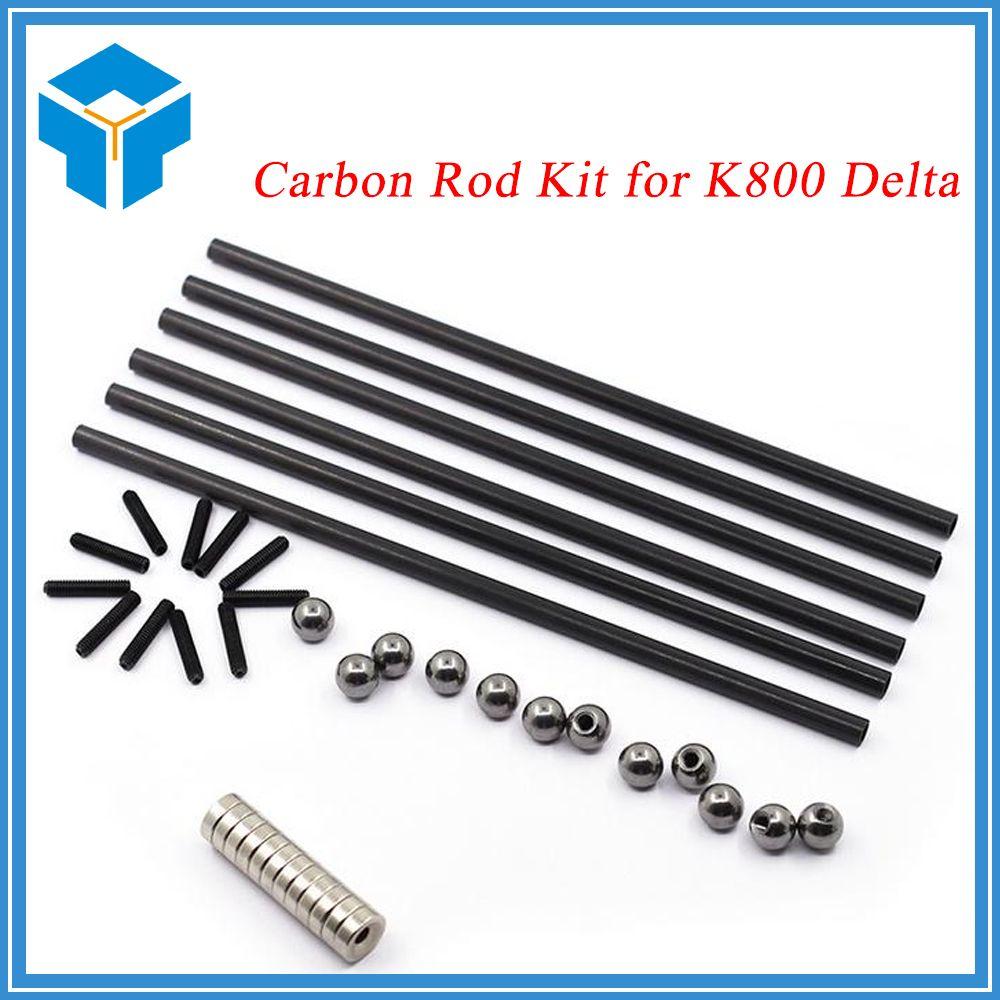 3D printer part Delta Kossel Carbon Rod kit + K800 Round Screw Ball +Round Magnetic Bracket for 3D Printer Reprap Delta Kossel