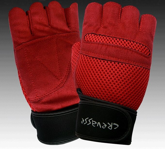 Breathable ventilate durable Fitness Sports Gym glove Gloves mitts Weight Lifting half finger Non-slip with long wrist protect