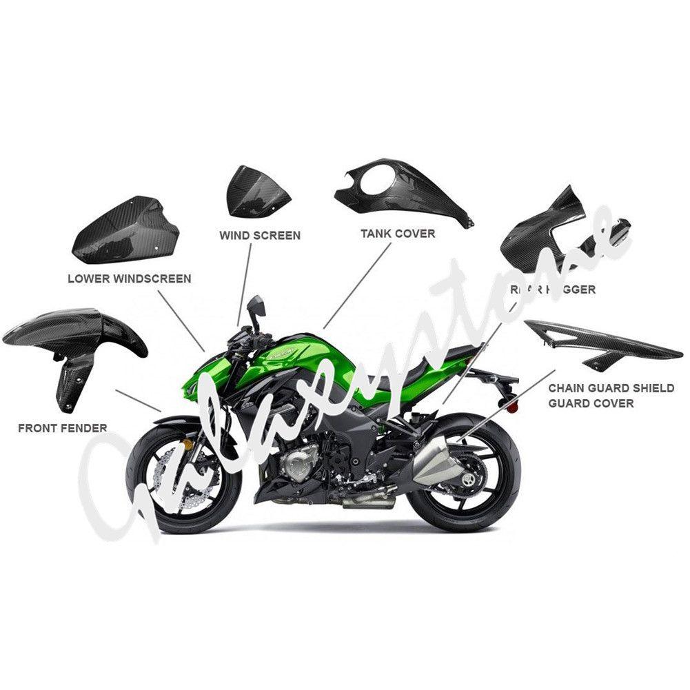 3 karat Prepreg Carbon Faser für 2014-2017 Kawasaki Z1000 Vorne Hinten Kotflügel Hugger & Kette Wache Schild Schutz abdeckung & Windschutz