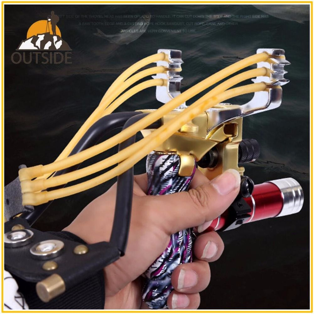 2 Rubber Bands Folding Wrist Slingshot with Laser Sight Flashlight Gift Box Catapult Outdoor Games Powerful Camouflage Hunting