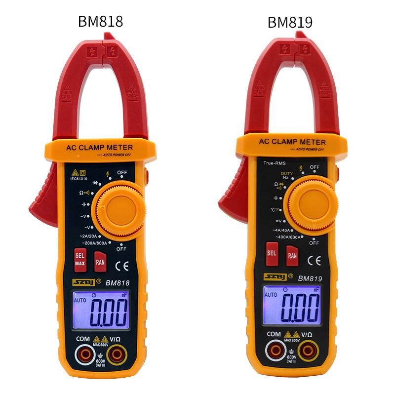 SZBJ BM818 BM819 Ammeter ACV/DCV ACA Auto Range Measurement of large capacitance NCV Digital clamp meter