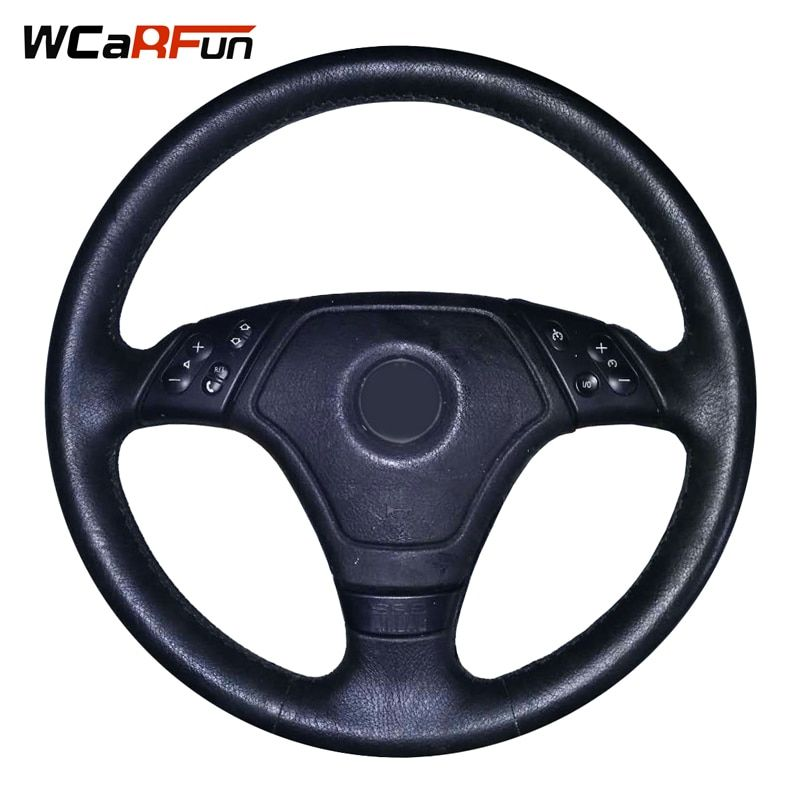 WCaRFun Black Artificial Leather Car Steering Wheel Cover Hand-Stitched Auto Steering Cover for BMW E46 E36 E39