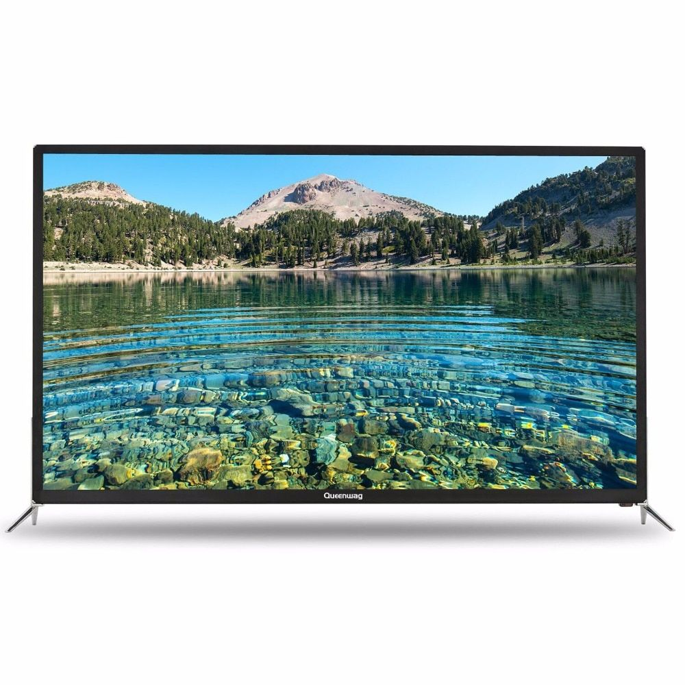 QUEENWAY Smart 4K HD TV Android 55 inch TV 16:9 Full Iron Case 3840*2160 WiFi USB English Russian Spanish Chinese 110V~240V