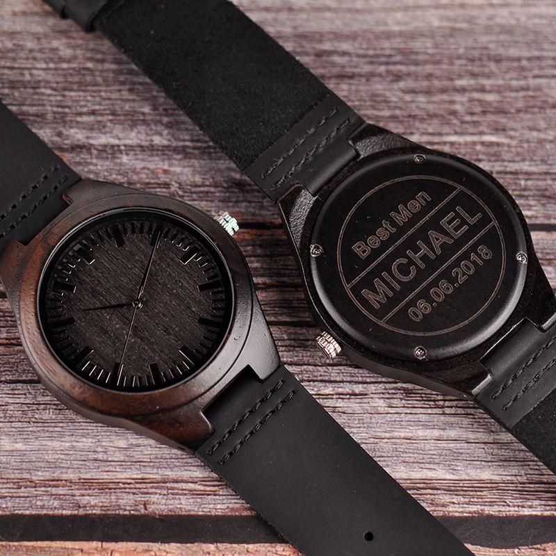 relogio masculino Engraved Wood Watches Groomsmen Personalized Watch Father's Gift Anniversary Gift for Men erkek kol saati