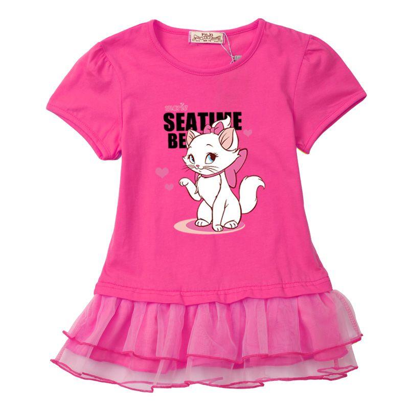Belle et doux bébé fille vêtements robes 2017 nouveau coton conception originale fête D'anniversaire robe belle chat coton t chemise mignon