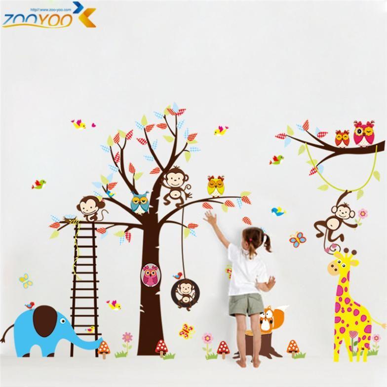 Grande taille animaux stickers muraux pour enfants chambre décorations singe hibou zoo de bande dessinée stickers muraux art bricolage enfants autocollant zooyoo1213