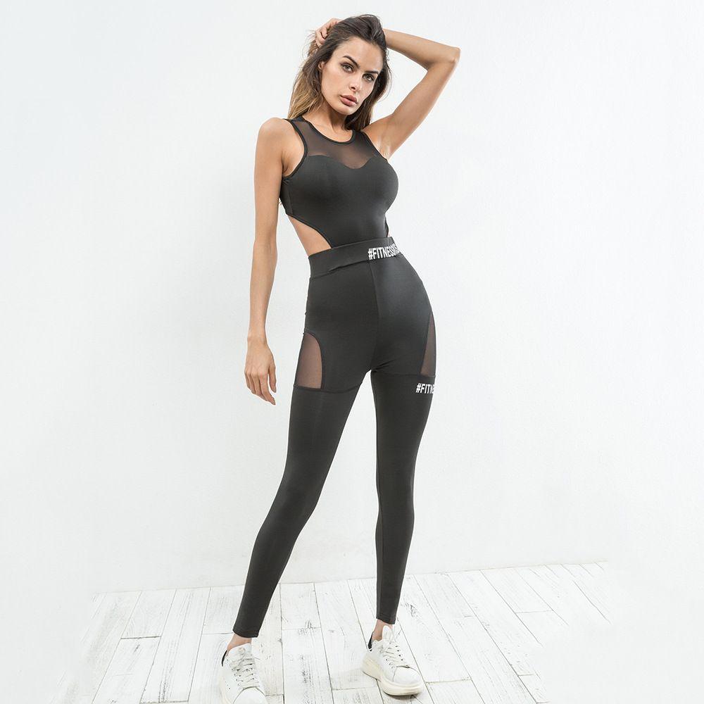 2018 Européenne stand femmes de nouveau gymming dos nu casual pantalon mouvement pièce pantalon de mode gris sexy sporulant pantalon