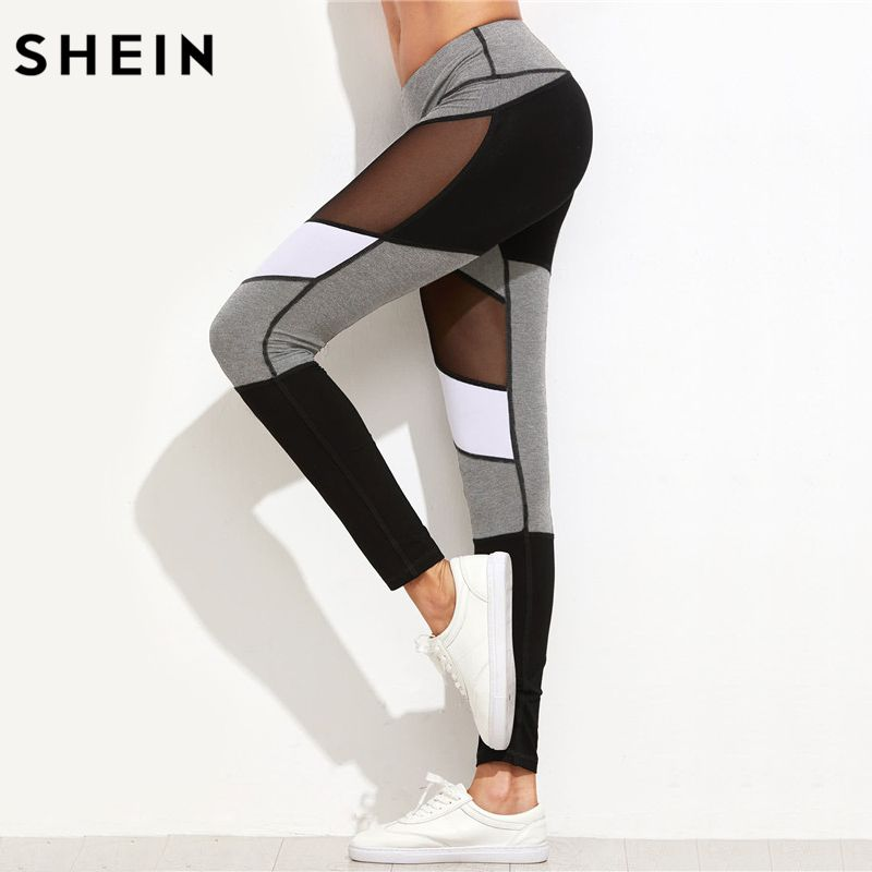 SHEIN Fitness Workout Leggings Color Block Mesh Insert Heather Knit Leggings New Women Slim Legging Pencil Pants