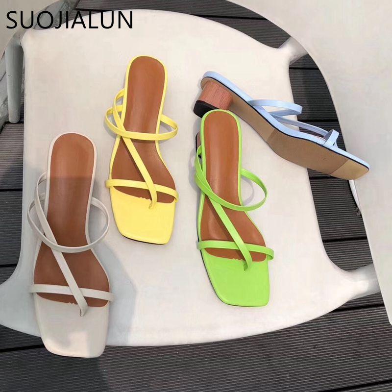 SUOJIALUN 2019 marque été femmes pantoufle talon bas glisse femelle Peep Toe talon carré sandale vacances tongs chaussures mujer