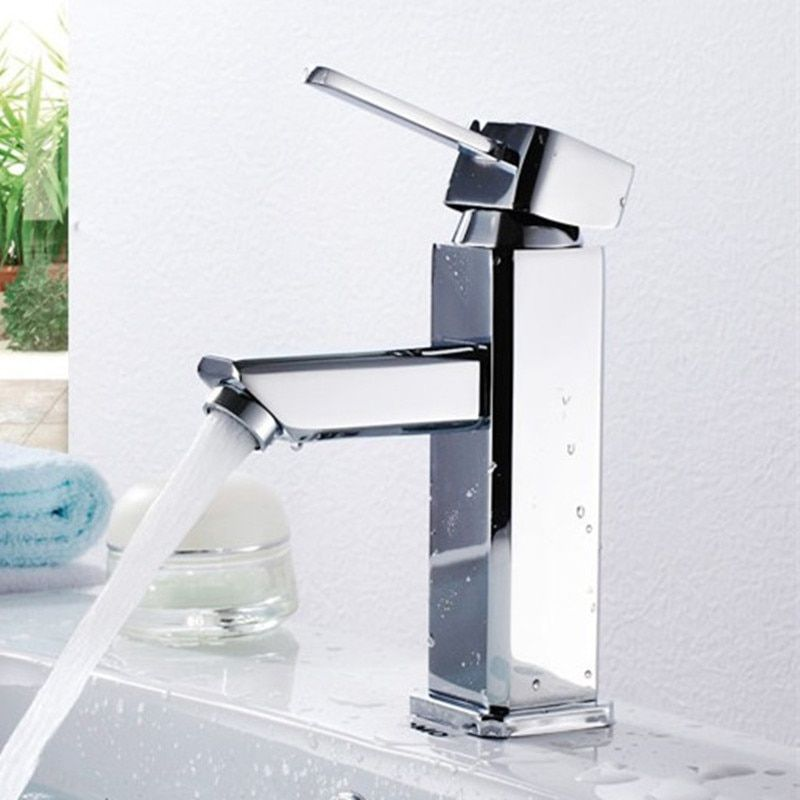 Free shipping Hot sale square basin sink faucet with top quality polished chrome bathroom basin sink water faucets