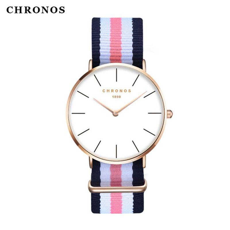 Marca CHRONOS Relojes Hombres Mujeres Moda Casual Sport Reloj Clásica Nylon Male Cuarzo Reloj de Pulsera Relogio masculino Feminino
