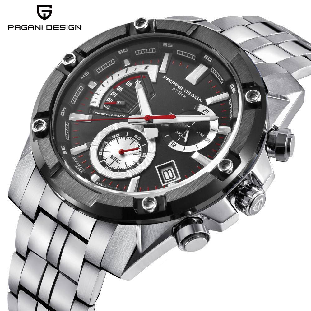 PAGANI DESIGN Luxus Marke männer Chronograph Business Quarz Uhr Edelstahl Wasserdichte Sport Männer Uhr Saat dropshipping