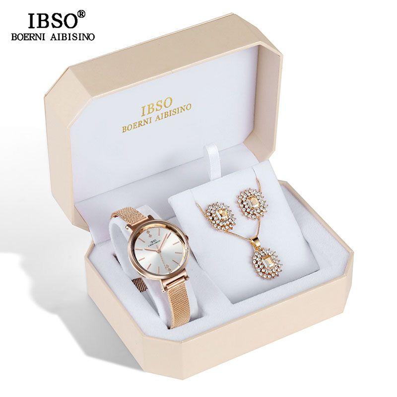 IBSO Marke Frauen Kristall Design Uhr Set Weibliche Schmuck Set Mode Kreative Quarzuhr Ohrring Halskette Set dame Geschenk
