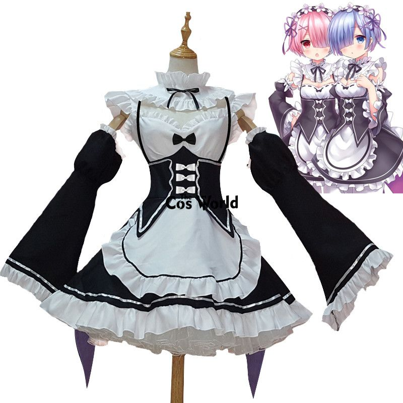 Re <font><b>Zero</b></font> Kara Hajimeru Isekai Seikatsu Ramu RAM Remu REM Maid Apron Dress Outfit Uniform Anime Cosplay Costumes